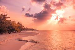 松弛和风平浪静视图和海滩场面 打开海洋水和日落天空和棕榈树 平静的自然背景 库存照片