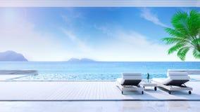 松弛夏天、沙发床在晒日光浴的甲板和私有游泳池与近的海滩和全景海视图在豪华房子/3d关于 库存例证