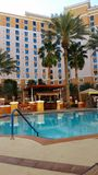松弛水池边在拉斯维加斯旅馆 免版税库存照片