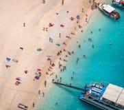 Navagio海滩, Zakinthos海岛,希腊 图库摄影