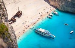 Navagio海滩, Zakinthos海岛,希腊 库存图片