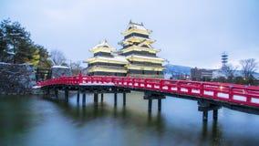 松本城乌鸦城堡在那古野市,日本 城堡 免版税库存图片