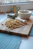松果和陶瓷灰浆在画象 免版税库存图片