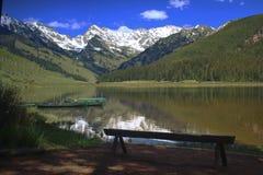 松树般茂盛的湖 免版税库存图片