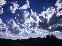 松的白色云彩和天空蔚蓝 免版税库存照片