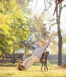 轻松的领抚恤金者坐一条长凳在公园 免版税库存图片