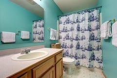绿松石卫生间内部以卫生间虚荣为特色 免版税库存图片