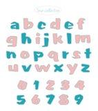 绿松石和浅粉红色的被子针字母表 免版税库存图片