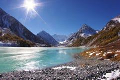 绿松石在冰下的山湖与蓝天和太阳 免版税库存图片