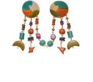 绿松石塑料耳环;人造珠宝 库存图片