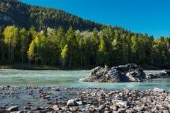 绿松石河的岩石岸 库存照片