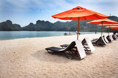 绿松石海、DECKCHAIRS和沙滩伞在海滩 免版税库存图片