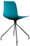 绿松石颜色塑料椅子,现代设计师 在白色背景隔绝的转椅 家具例证内部向量 免版税库存图片
