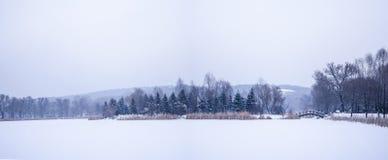松花湖冰和雪在吉林 免版税库存图片