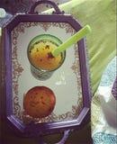 松饼和汁液 库存照片