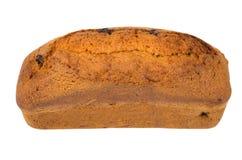 松饼大面包用在白色隔绝的葡萄干 免版税库存图片