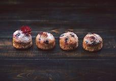 松饼用在黑暗的背景的无核小葡萄干在分支的莓果旁边 在一个土气样式 黑暗的样式 图库摄影