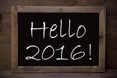 黑板与你好2016年 免版税库存图片