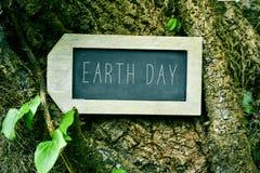 黑板与在树的文本地球日 免版税库存照片