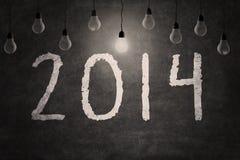 黑板与新年2014年 免版税库存图片