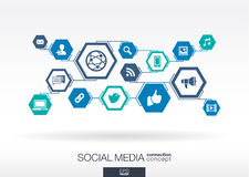 黑板企业白垩黑板画媒体网络网络连接人照片社交的概念连接数 六角形抽象背景 免版税图库摄影