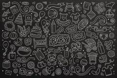 黑板传染媒介手拉的乱画动画片套  免版税库存图片