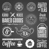 黑板咖啡馆和面包店设计 向量例证