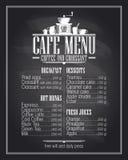 黑板咖啡馆菜单与盘名字的名单设计 免版税库存照片