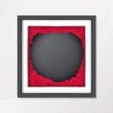 黑板在葡萄酒样式的背景纹理与红色在照片框架的玫瑰花 免版税库存图片
