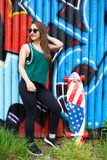 滑板女孩 库存照片