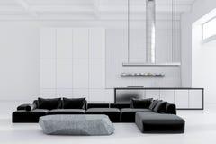 板岩桌客厅和白色厨房 向量例证