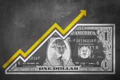 黑板成长图表 免版税库存照片