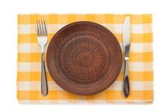 板材、刀子和叉子在切板 免版税图库摄影