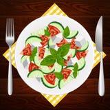板材叉子刀子饮食希腊希脂乳蓬蒿 免版税库存照片