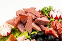 板材板用肉和乳酪 在意大利样式的宴会 免版税库存照片
