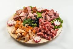 板材板用肉和乳酪 在意大利样式的宴会 库存图片