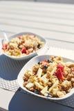 板材用新鲜水果沙拉、格兰诺拉麦片和莓果早晨在游廊 免版税图库摄影