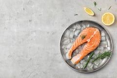 板材用新鲜的未加工的鲑鱼排和冰块 库存图片