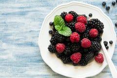 板材用黑莓和蓝莓在蓝色木背景 库存照片