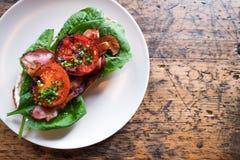 板材用BLT多士用烤蕃茄、烟肉、莴苣和s 图库摄影