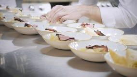 板材盘特写镜头线  小组厨师繁忙在美好的用餐的餐馆商业厨房里  职员在餐馆 股票录像