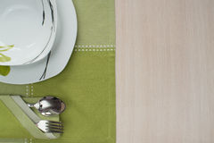 板材,桌布木桌 免版税库存图片