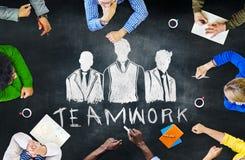 黑板激发灵感合作制定计划会议概念 免版税库存图片