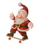 滑板的圣诞老人 免版税库存照片