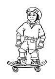 滑板的男孩 免版税库存照片