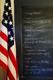 黑板美国国旗 图库摄影