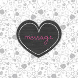 黑板艺术心脏框架无缝的样式 免版税库存图片