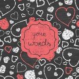 黑板艺术心脏红色框架无缝的样式 免版税库存图片