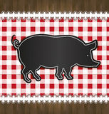 黑板菜单桌布鞋带猪 图库摄影
