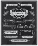 黑板葡萄酒横幅和丝带 免版税图库摄影